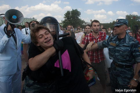 Protester detained at Gay Pride rally in  St. Petersburg