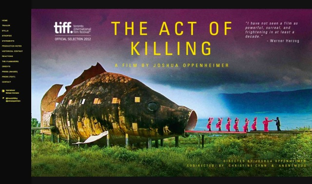 Home page of 'The Act of Killing's official website