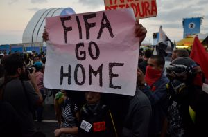 Protest against the World Cup in Copacabana, Brazil.