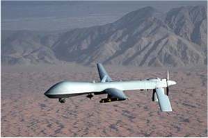 A General Atomics MQ-1 Predator drone, which is an unmanned aerial vehicle.