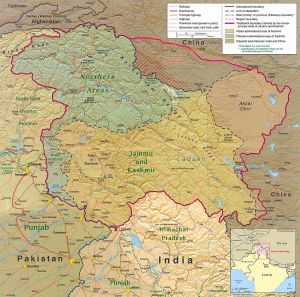 Map of the Kashmir region bordering India and Pakistan