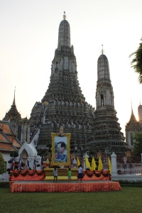 Thai King's picture outside Wat Arun Temple