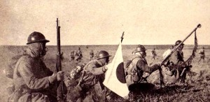Japanese infantry advances in Manchuria during World War II