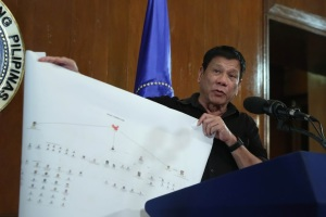 Phillipines President Rodrigo R. Duterte shows a diagram of the connection of high-level drug syndicates operating in the country.